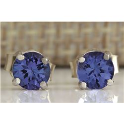 1.00 CTW Natural Tanzanite Earrings In 18K Solid White Gold