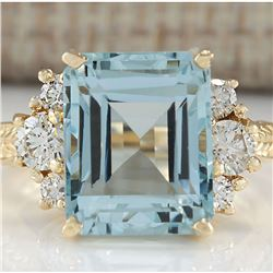 7.88 CTW Natural Blue Aquamarine And Diamond Ring 18K Solid Yellow Gold
