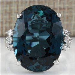 25.32 CTW Natural London Blue Topaz And Diamond Ring 18K Solid White Gold