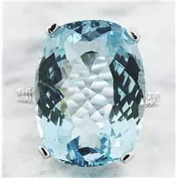 14.35 CTW Aquamarine 18K White Gold Diamond Ring