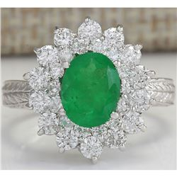 2.50 CTW Natural Emerald And Diamond Ring 18K Solid White Gold
