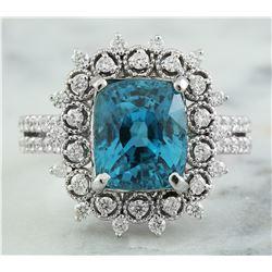 7.60 CTW Zircon 18K White Gold Diamond Ring