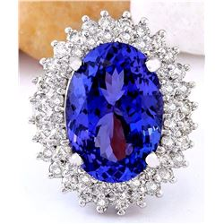 11.36 CTW Natural Tanzanite 18K Solid White Gold Diamond Ring