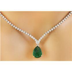 6.85 CTW Emerald 18K White Gold Diamond Ring