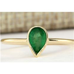 0.40 CTW Natural Emerald Ring In 14k Yellow Gold