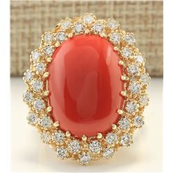 13.26 CTW Natural Coral And Diamond Ring In 18K Yellow Gold