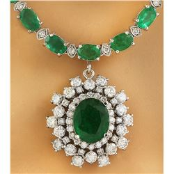29.96 CTW Emerald 14K White Gold Diamond Necklace