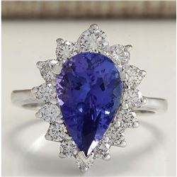 5.26 CTW Natural Tanzanite And Diamond Ring 18K Solid White Gold