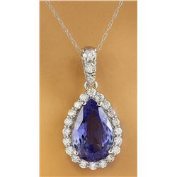 5.10 CTW Tanzanite 18K White Gold Diamond Necklace