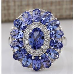 4.77 CTW Natural Tanzanite And Diamond Ring In 18K White Gold