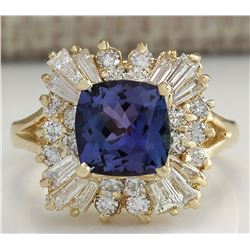 3.44 CTW Natural Blue Tanzanite And Diamond Ring 14K Solid Yellow Gold