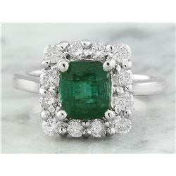 2.60 CTW Emerald 18K White Gold Diamond Ring