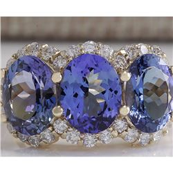 7.38 CTW Natural Tanzanite And Diamond Ring 18K Solid Yellow Gold