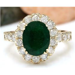 2.86 CTW Natural Emerald 18K Solid Yellow Gold Diamond Ring