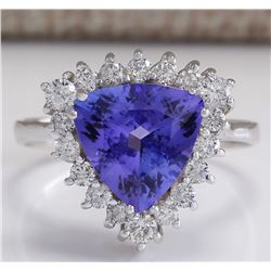 3.25 CTW Natural Blue Tanzanite And Diamond Ring 18K Solid White Gold