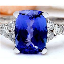 3.49 CTW Natural Tanzanite 18K Solid White Gold Diamond Ring