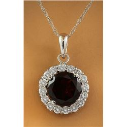 1.82 CTW Garnet 18K White Gold Diamond Necklace