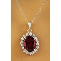 2.00 CTW Tourmaline 14K White Gold Diamond Necklace