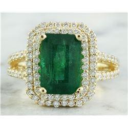 4.42 CTW Emerald 14K Yellow Gold Diamond Ring