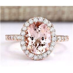 2.67 CTW Natural Morganite And Diamond Ring In 18K Rose Gold