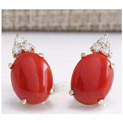 4.34 CTW Natural Red Coral And Diamond Earrings 18K Solid Yellow Gold