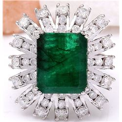 7.60 CTW Natural Emerald 18K Solid White Gold Diamond Ring
