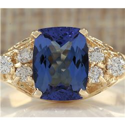 2.41 CTW Natural Tanzanite And Diamond Ring In 18K Yellow Gold
