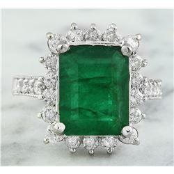 5.03 CTW Emerald 14K White Gold Diamond Ring