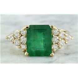 3.32 CTW Emerald 18K Yellow Gold Diamond Ring