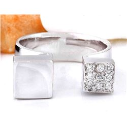 0.15 CTW Natural Diamond 18K Solid White Gold Ring