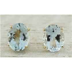 3.00 CTW Aquamarine 14K Yellow Gold Earrings