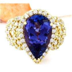7.73 CTW Natural Tanzanite 18K Solid Yellow Gold Diamond Ring