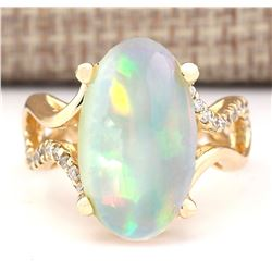 6.50 CTW Natural Opal And Diamond Ring In 14k Yellow Gold