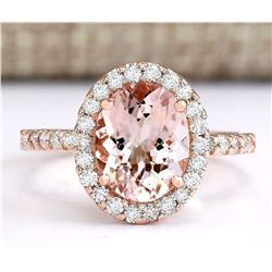 2.67 CTW Natural Morganite And Diamond Ring In 14k Rose Gold