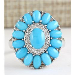3.63 CTW Natural Turquoise And Diamond Ring In 18K White Gold