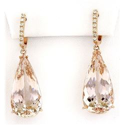 30.20 CTW Natural Morganite 18K Solid Rose Gold Diamond Earrings