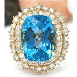 15.64 CTW Natural Topaz 14K Solid Yellow Gold Diamond Ring