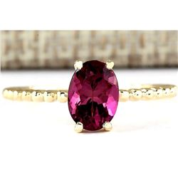 1.31 CTW Natural Pink Tourmaline Ring In 18K Yellow Gold