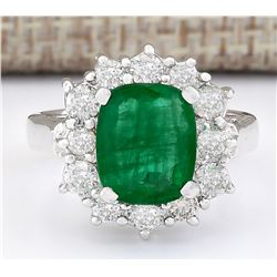 3.20 CTW Natural Emerald And Diamond Ring In 18K White Gold