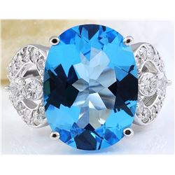 11.40 CTW Natural Topaz 18K Solid White Gold Diamond Ring