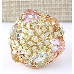 25.36 CTW Natural Multi Stone Morganite Kunzite Diamond Ring In 18K Rose Gold