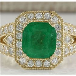 3.84 CTW Natural Emerald And Diamond Ring 14K Solid Yellow Gold