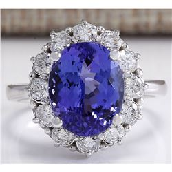 6.10 CTW Natural Blue Tanzanite And Diamond Ring 18K Solid White Gold