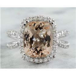 4.93 CTW Morganite 18K White Gold Diamond Ring