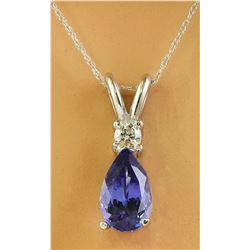 1.95 CTW Tanzanite 18K White Gold Diamond Necklace