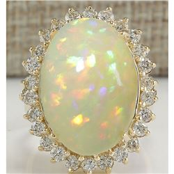 12.51 CTW Natural Ethiopian Opal And Diamond Ring In 14K Solid Yellow Gold