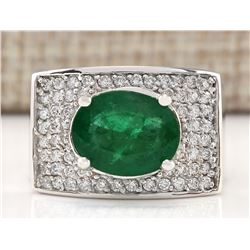 4.78 CTW Natural Emerald And Diamond Ring In 14k White Gold