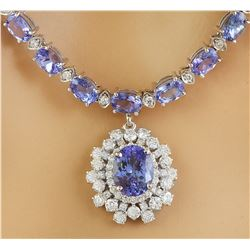 40.20 CTW Tanzanite 18K White Gold Diamond Necklace