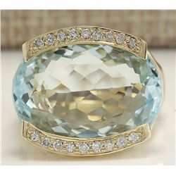 25.35 CTW Natural Aquamarine And Diamond Ring In 18K Solid Yellow Gold
