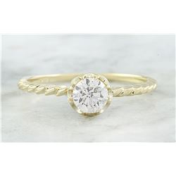 0.50 CTW Diamond 18K Yellow Gold Solitaire Engagement Ring